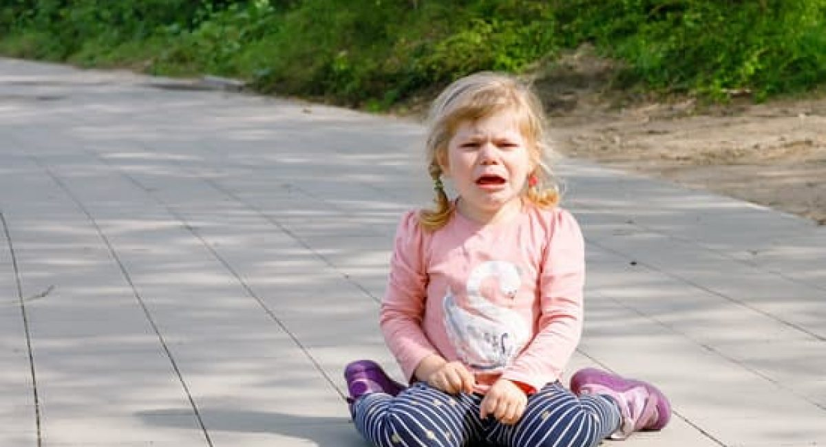 Cute upset unhappy toddler girl crying. Angry emotional child shouting. Portrait of kid with tears. Girl sitting on ground at crying.